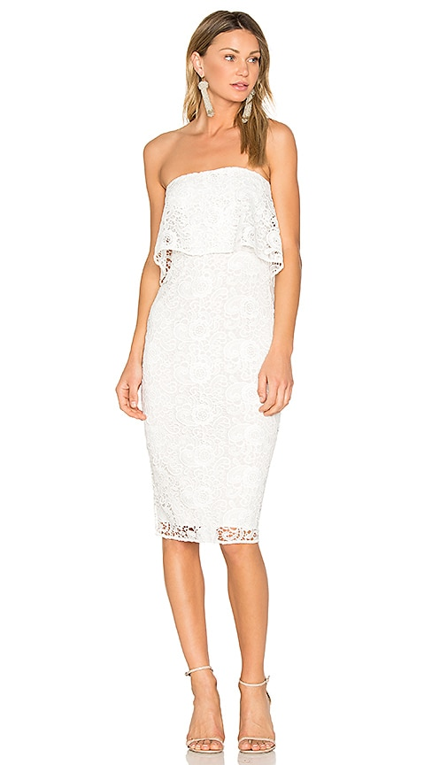 LIKELY Lace Driggs Dress in White
