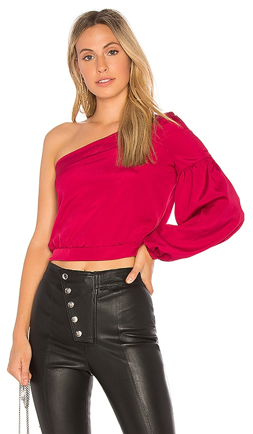 LIKELY Krissy One Shoulder Top in Fuchsia