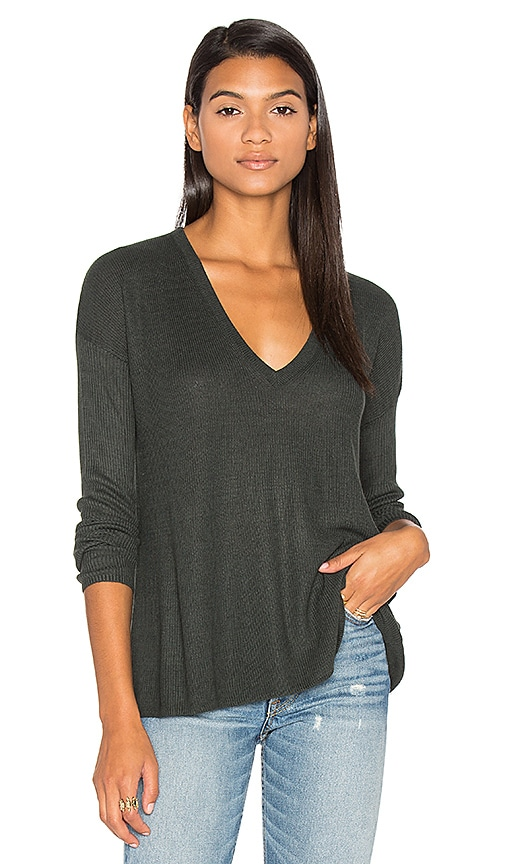 Line Heather V Neck Sweater in Dark Green