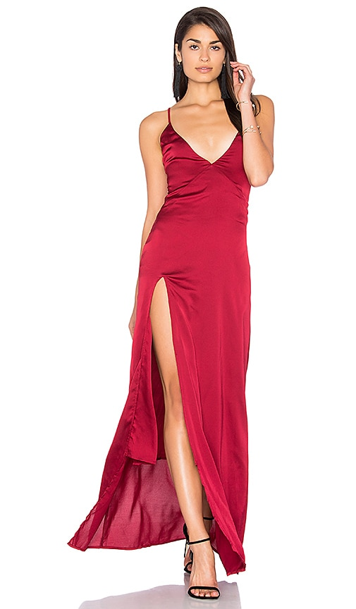 LIONESS Up in Smoke Maxi Dress in Red
