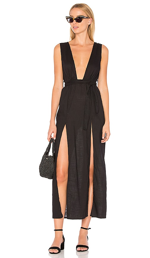 Lioness LIONESS Esperanza Plunge Maxi Dress in Black.