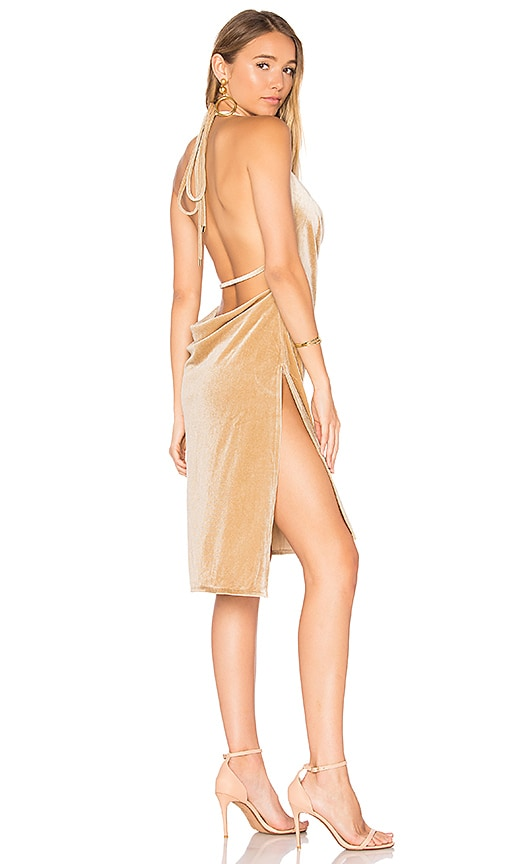 Lioness LIONESS Vegas Velvet Mini Dress in Beige.