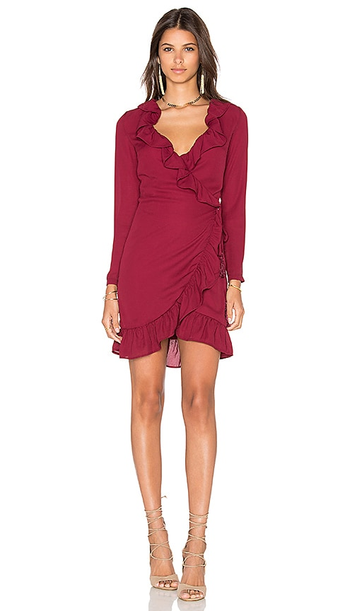LIONESS Tuscan Fling Ruffle Dress in Wine