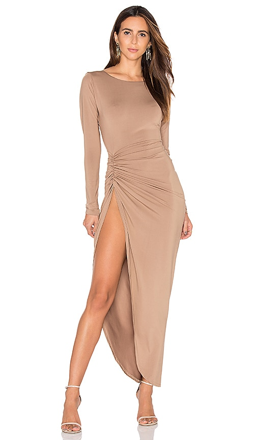 LIONESS Amore Split Maxi Dress in Tan