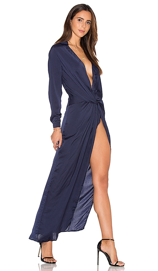 LIONESS Positano Nights Maxi Dress in Navy