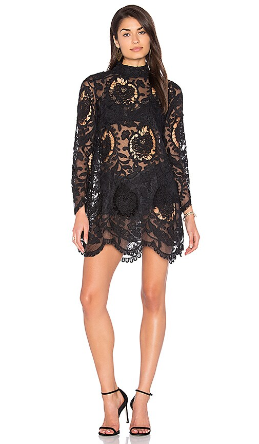LIONESS City Lights Lace Dress in Black