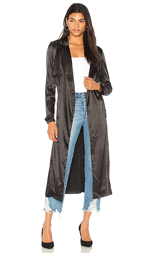 Lioness LIONESS Grand Entrance Trench Coat in Black.