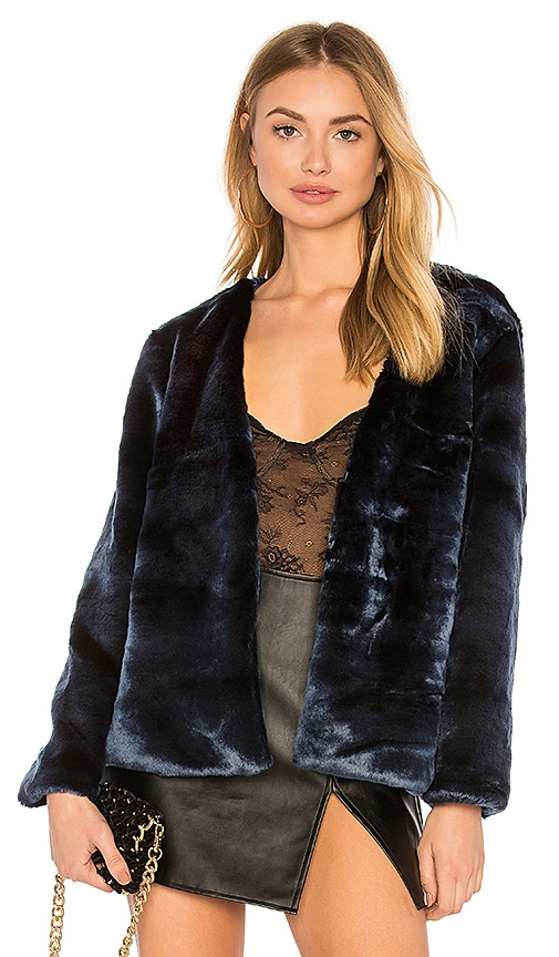 LIONESS Too Damn Famous Faux Fur Coat in Navy
