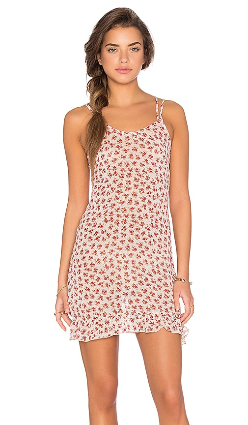 Lisakai Floral Print Shift Dress in Blush