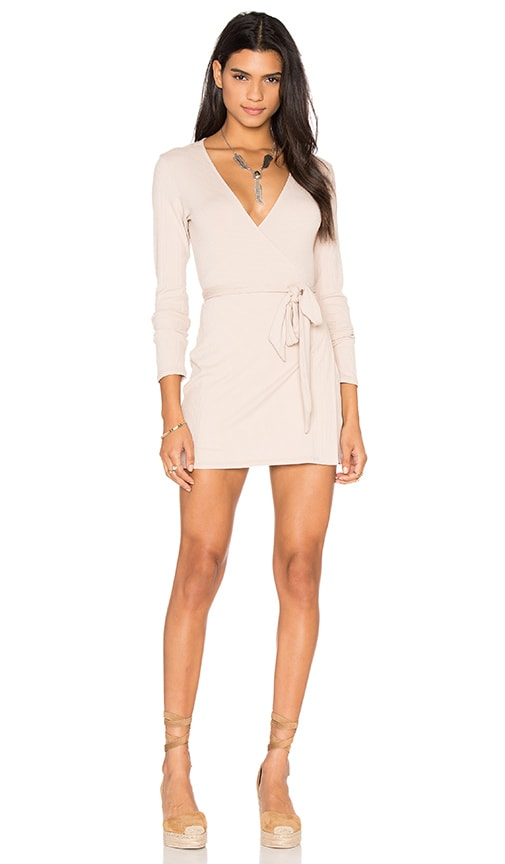 Lisakai Rib Wrap Dress in Beige