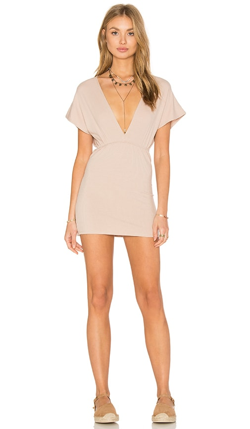 Lisakai Deep V Rib Dress in Beige