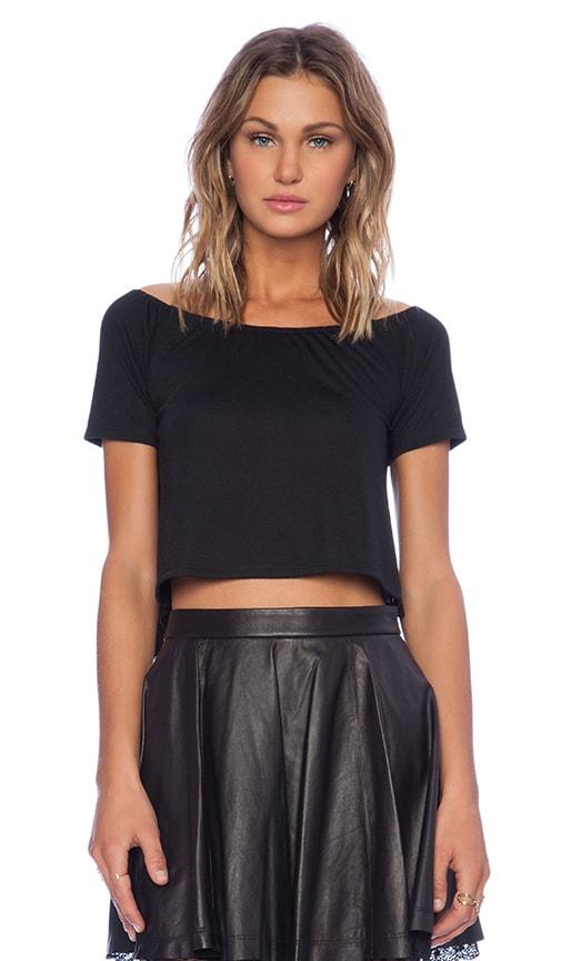 Lisakai Lisa Kai Off Shoulder Crop Top in Black