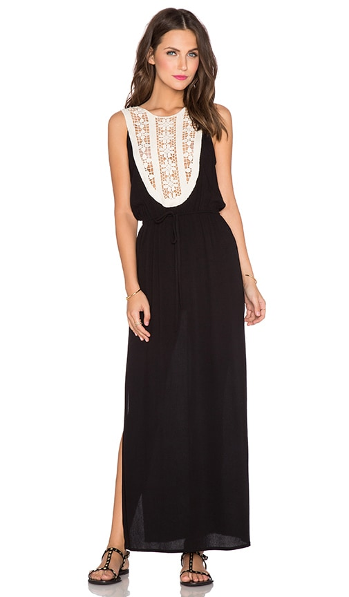 LIV Arianna Applique Maxi Dress in Black