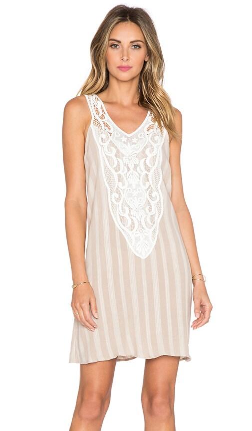 LIV Hailey Lace Bib Dress in Matte Beige