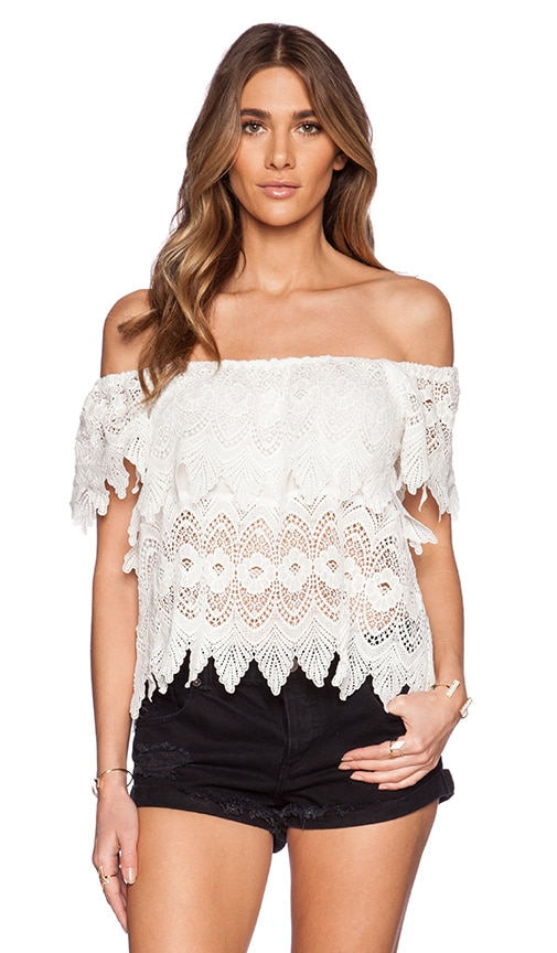 LIV Lucy Tiered Lace Top in Ivory