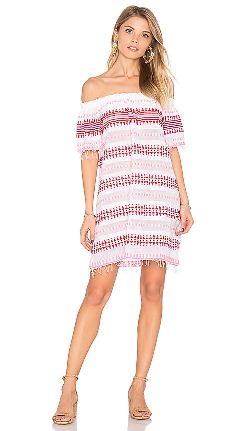 Lemlem Tabtab Off Shoulder Dress in Red