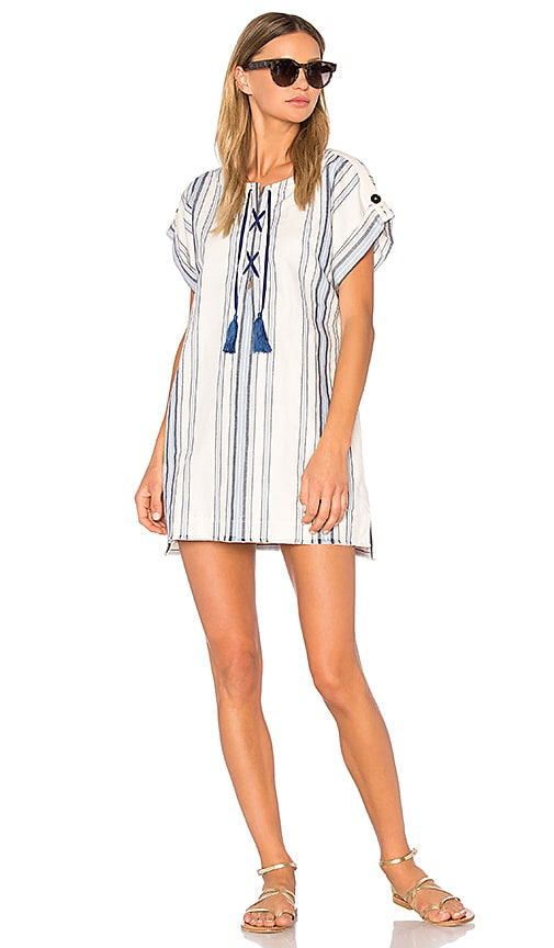 Lemlem Hamila Lace Up Tunic in Blue