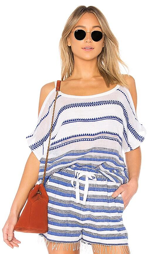 Lemlem Lulu Open Shoulder Top in Blue