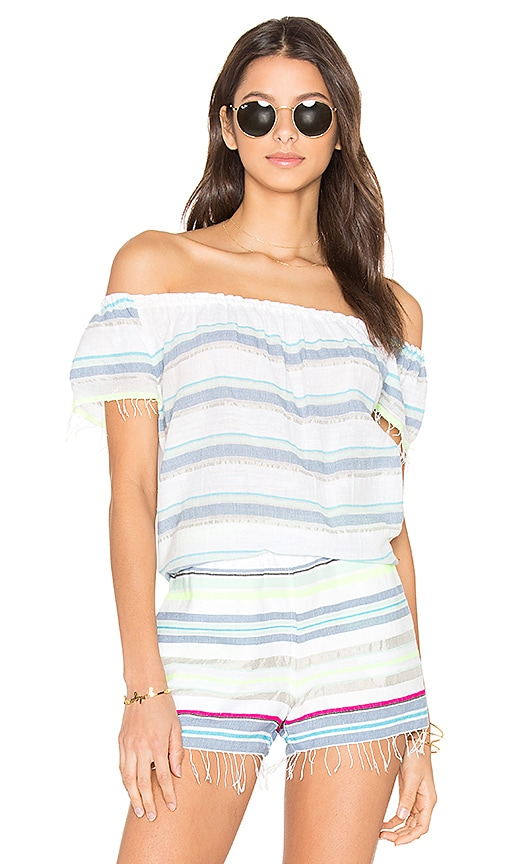 Lemlem Hayat Off Shoulder Top in Blue