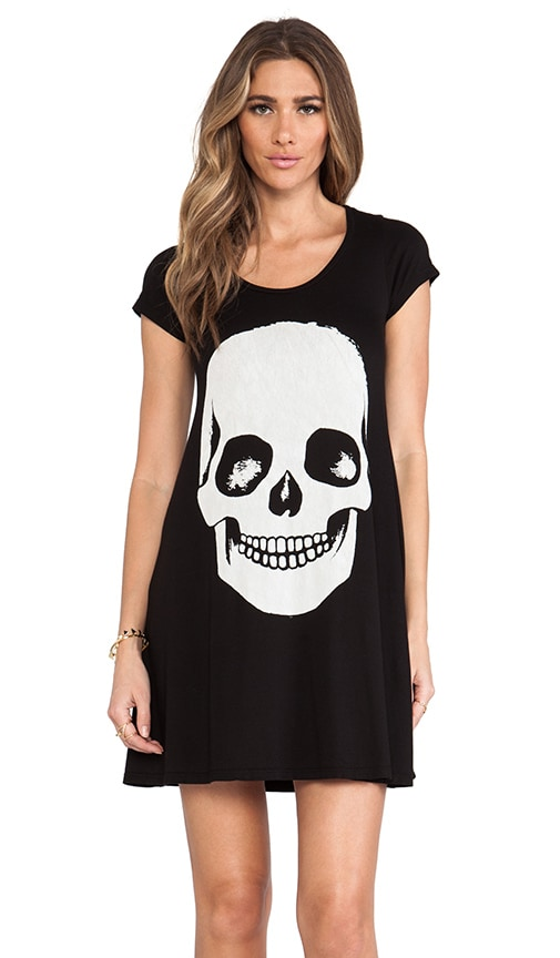 Abby Skull Face Short Sleeve Shirt Dress