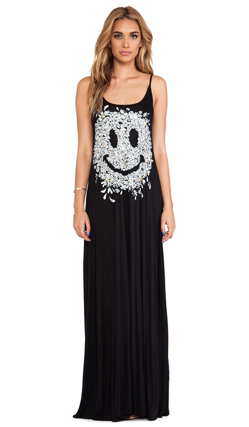 Lex Foil Daisy Happy Face Deep Back Maxi Dress