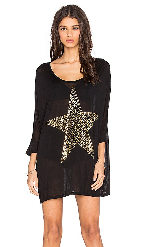 Lauren Moshi Milly Foil Stripe Chain Star Dress in Black
