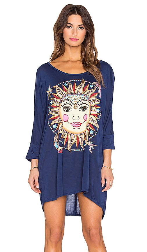 Lauren Moshi Milly Large Celestial Sun Dress in Blue Magic
