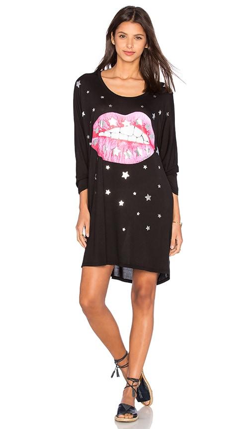 Lauren Moshi Milly Shooting Star Lip Oversized Dress in Black