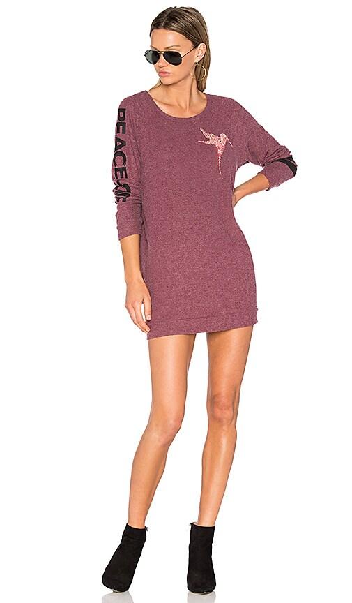 Lauren Moshi Bel Long Sleeve Pullover Sweatshirt Dress in Pink