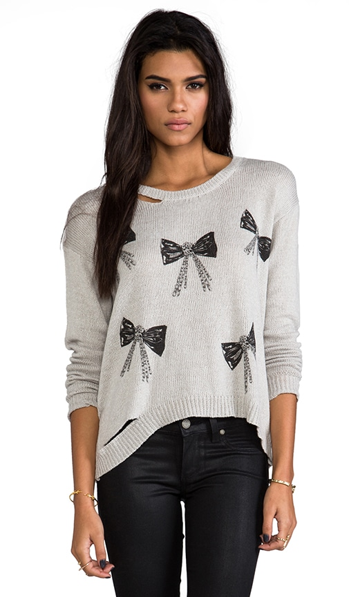 Jewel Mini Chain Bows Sweater