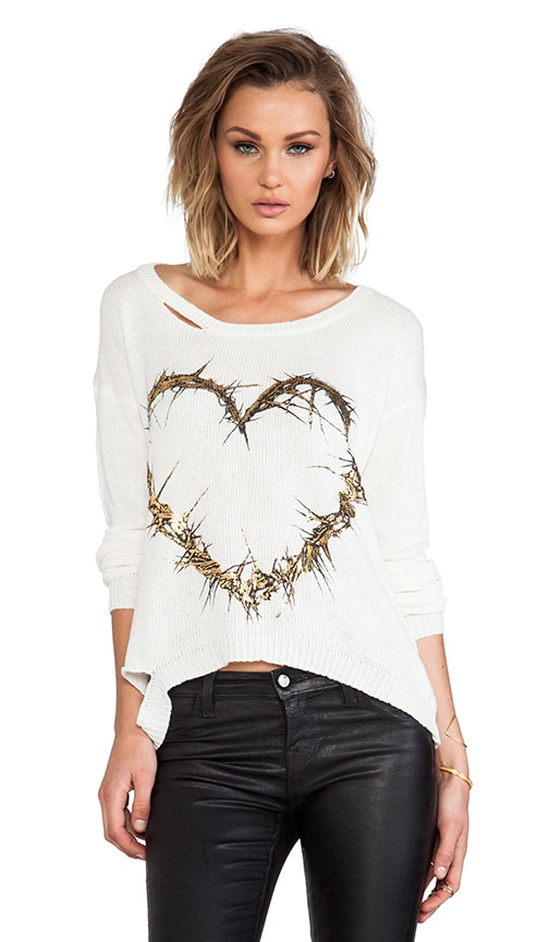 Jewel Foil Thorn Heart Sweater