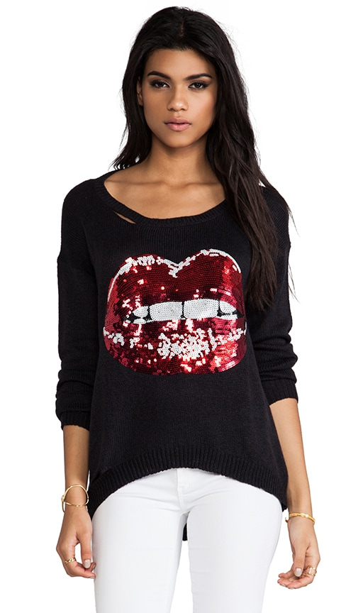 Jewel Sequin Mouth Sweater