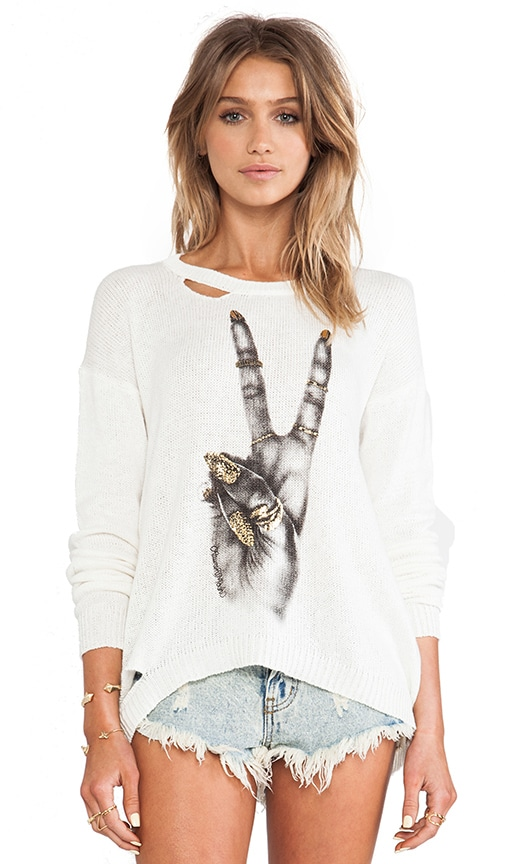 Jewel Foil Peace Hand Holes Sweater