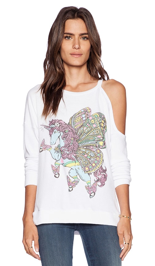 Quinn Flying Unicorn One Shoulder Open Pullover