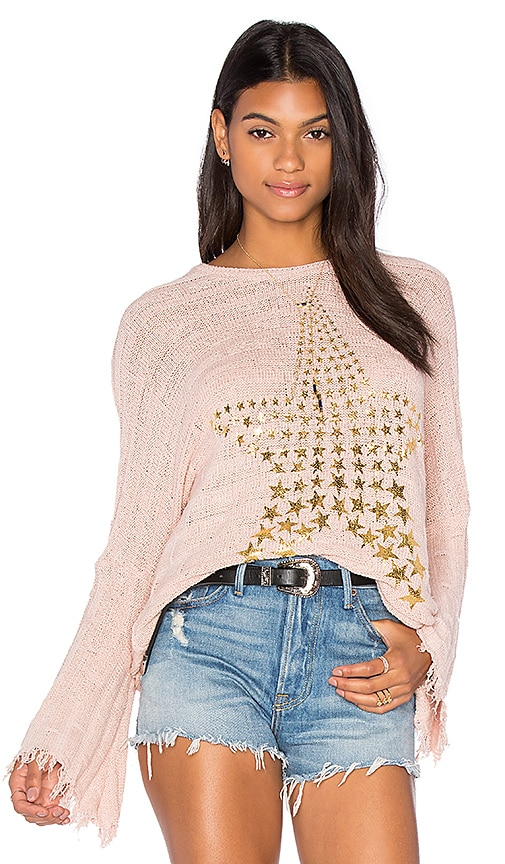 Lauren Moshi Esme Fringe Bell Sleeve Sweater in Blush