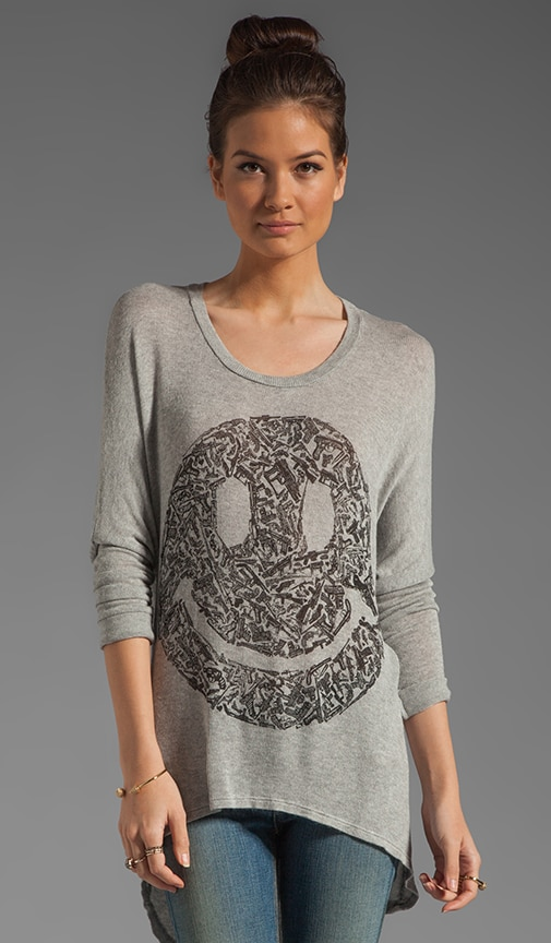 Reagan Gun Happyface Asymmetrical Hem Sweater