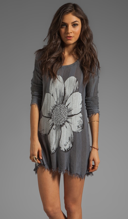 Gretta Color Skull Flower Sweater Dress