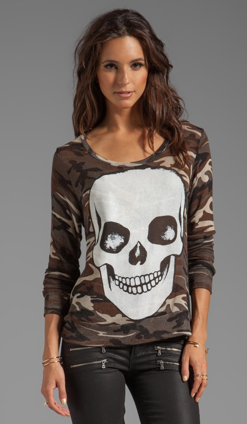 Margaret Skull Face Long Sleeve Sweater
