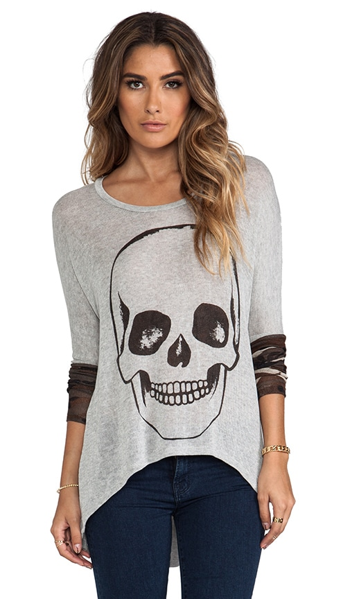Deb Skull Face Contrast Cuff Asymmetrical Sweater