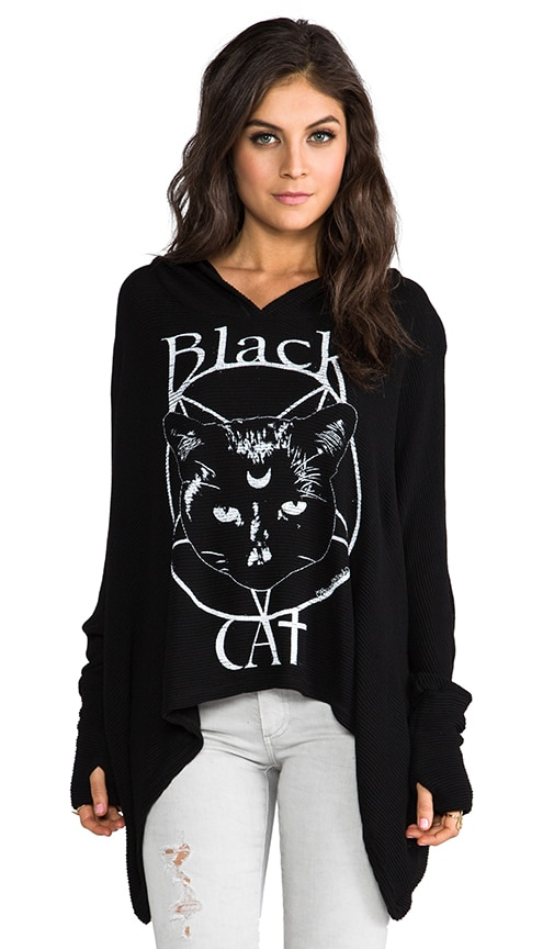Wilma Black Cat Hooded Sweater
