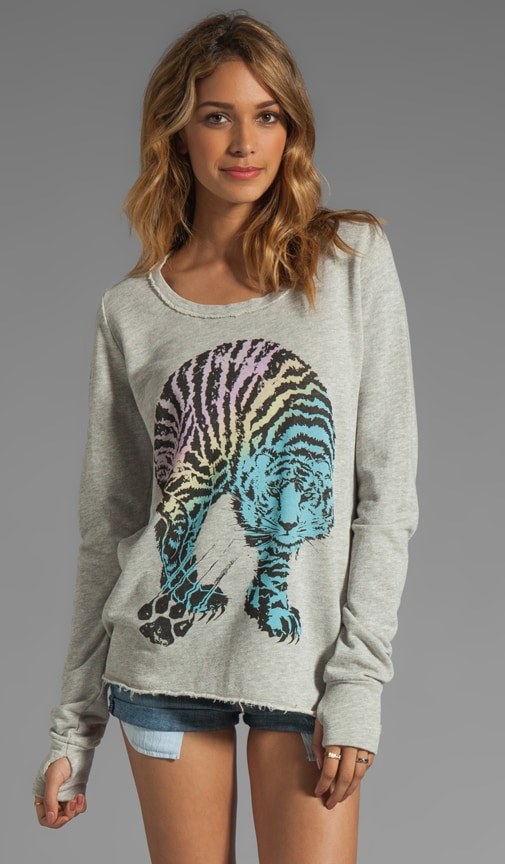 Kallie Color Tiger Thumb Hole Sweatshirt
