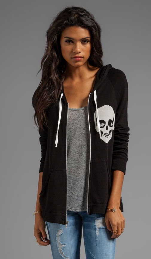 Layla Skull Face Fitted Zip Up Hoodie