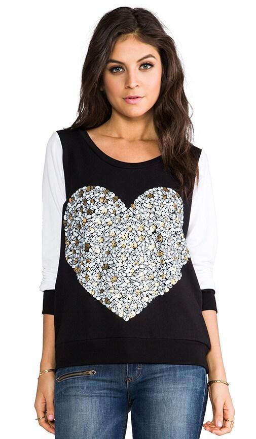 Jet Foil Mini Skull Heart Pullover Sweatshirt