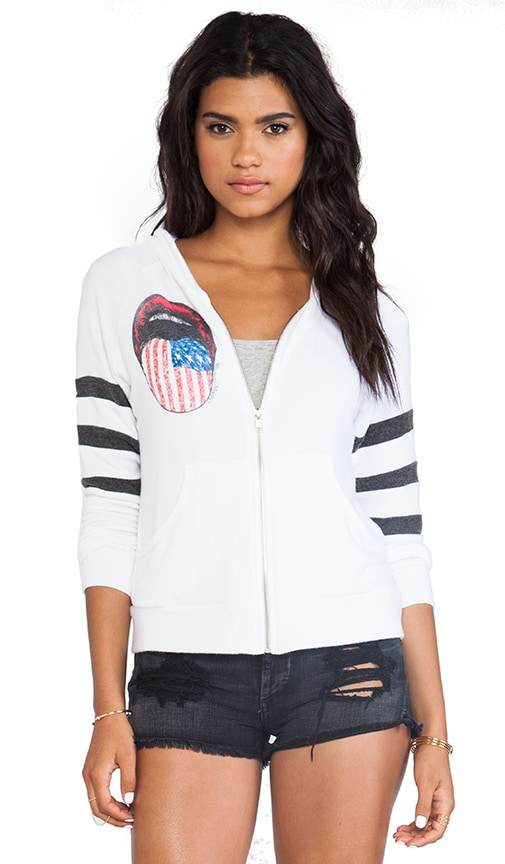 Lena Color Flag Tongue Zip Up Hoodie