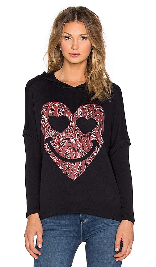 Lauren Moshi Lotta Red Bandana Heart Hoodie in Black