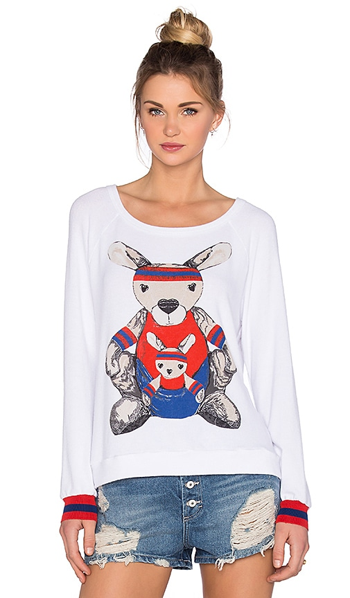 Lauren Moshi Kay Training Kangaroo Pullover in White
