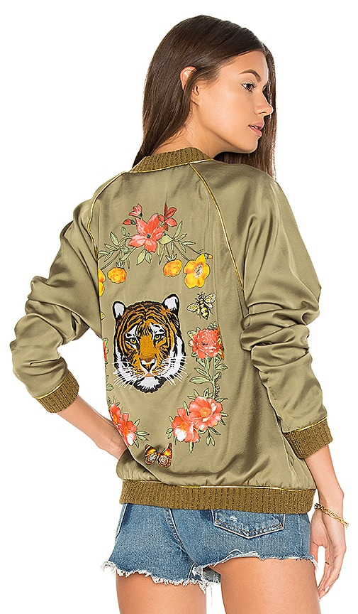 Lauren Moshi Garden Tiger Bomber Jacket in Army