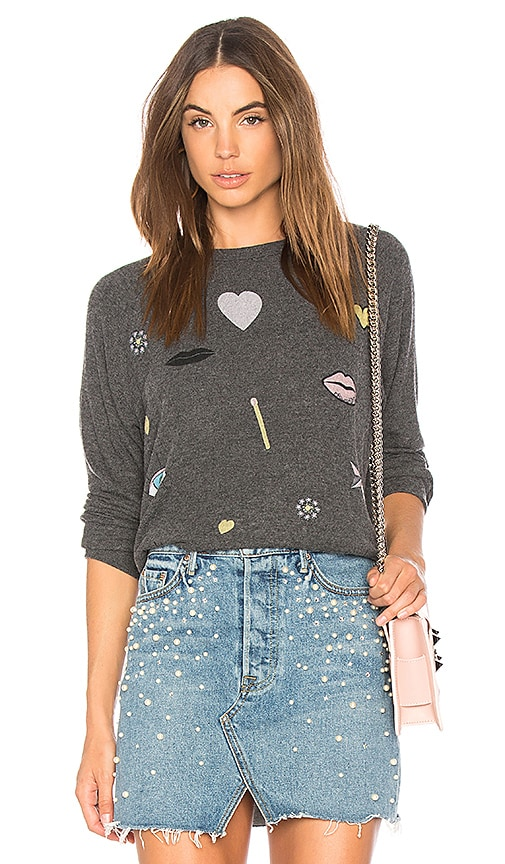 Lauren Moshi Lovie Boyfriend Pullover Sweatshirt in Black