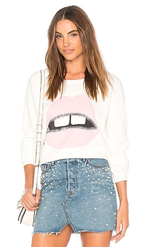 Lauren Moshi Noleta Vintage Pullover Sweatshirt in White