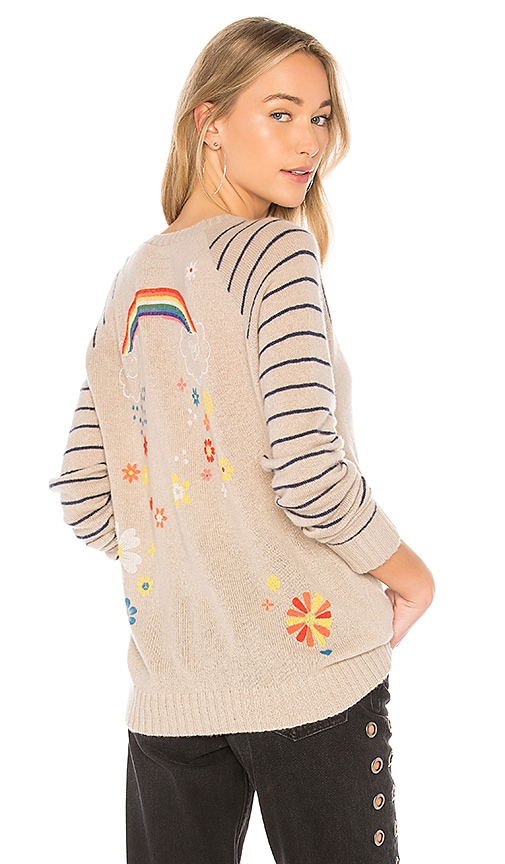 Lauren Moshi Brooklyn Stripe Raglan Crewneck Sweater in Beige